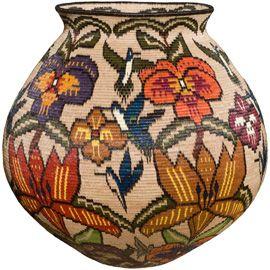 wounaan basket flowers and hummingbirds
