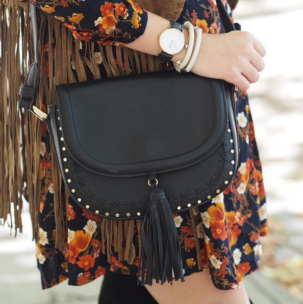 Studded Tassel Saddle Bag (by Accessorize)