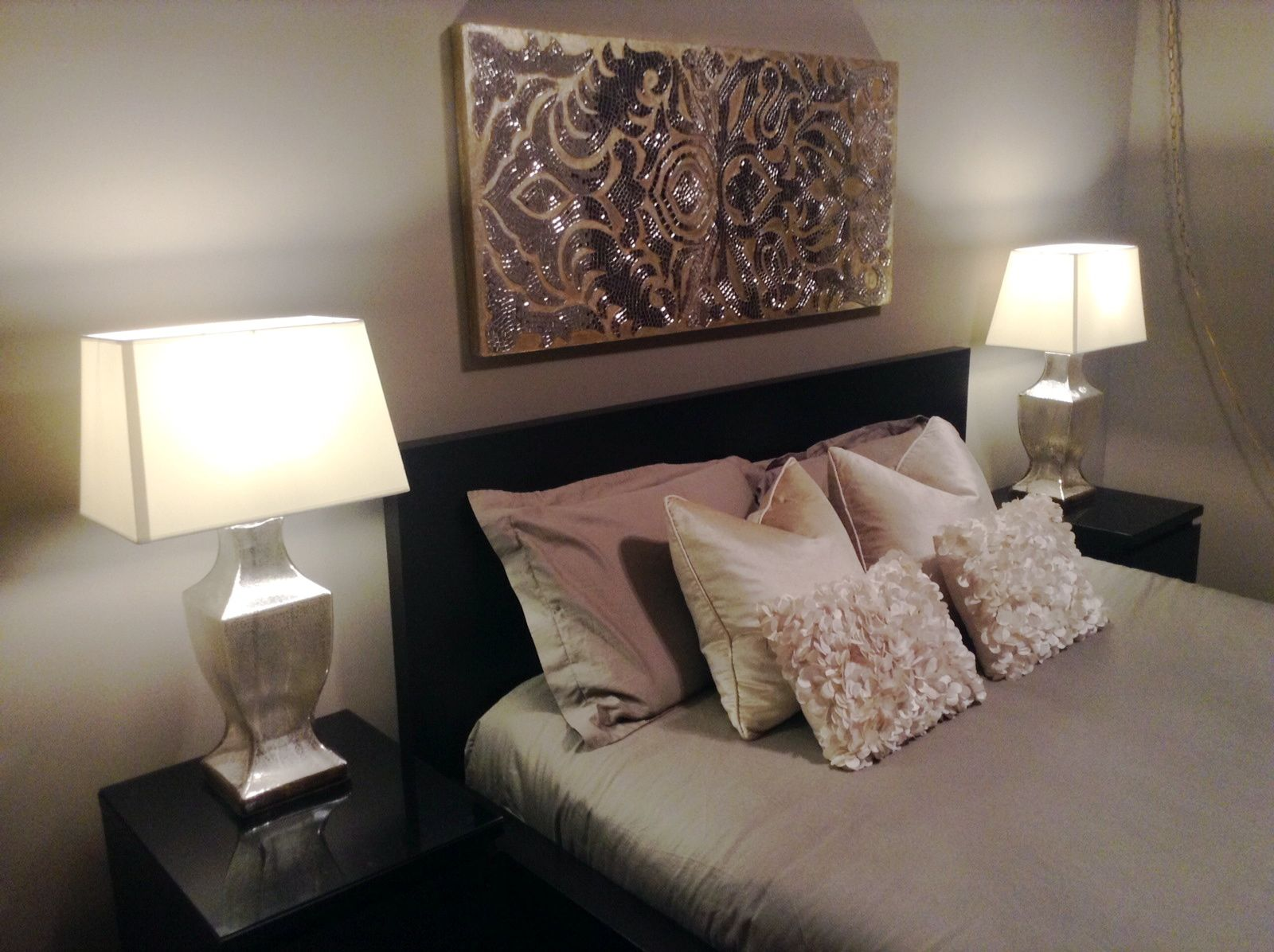Our Gorgeous @Pier Mallory 1 Imports Pillows U0026 Mirrored Damask Panel In Our  Master Bedroom