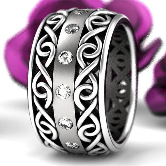 Celtic Wedding Ring With Moissanite And Cut Through Infinity Symbol