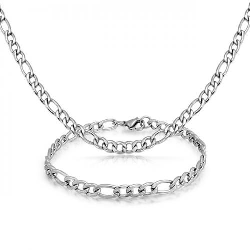 Bling Jewelry Mens Stainless Steel 5mm Figaro Chain Bracelet Necklace Set