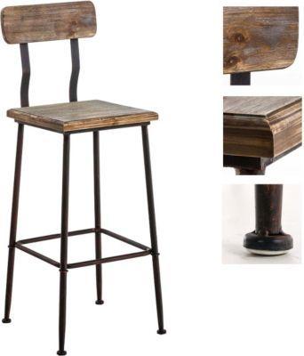 Industrial Design Barhocker QUEENS mit Lehne, 4 Beine, Materialmix ...