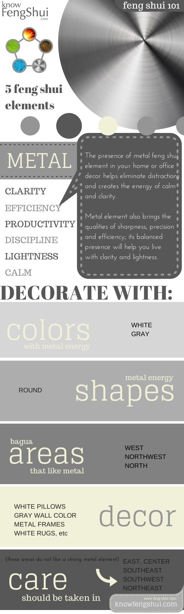 Easy feng shui decorating with the metal element: bring clarity, freshness  and ease into your space metal-feng-shui-element-decor-infographic