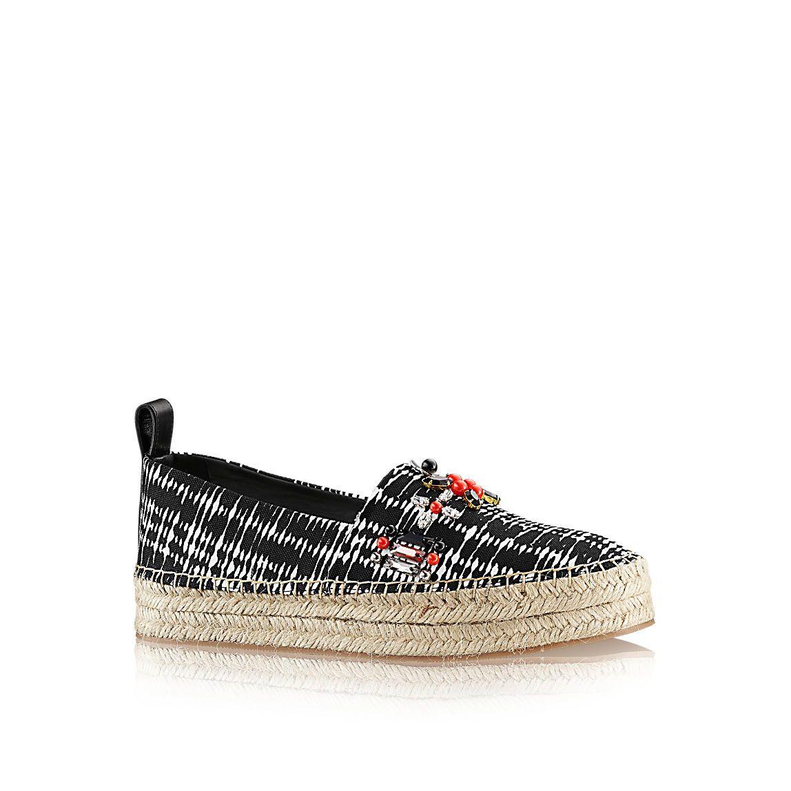 893d08057854ba Louis Vuitton black and white print and flower embellished platform  espadrille Espadrille Schuhe