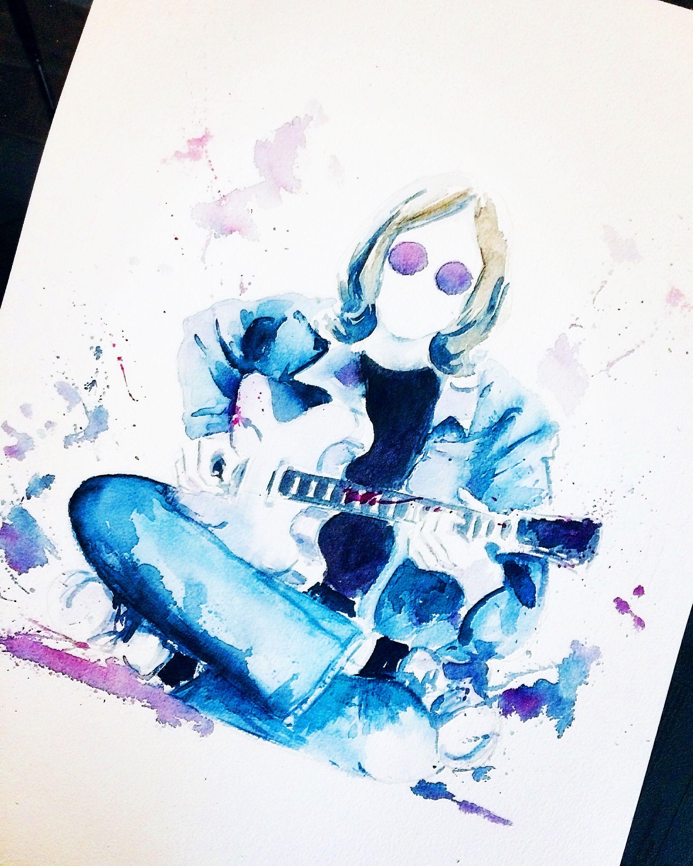 Watercolor Illustration John Lennon The Beatles En 2020