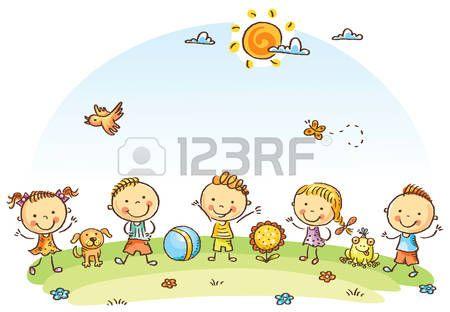 Happy Cartoon Kids Outdoors On A Green Meadow Caricaturas De Ninos Ninos Dibujos Animados Ninos Artisticos