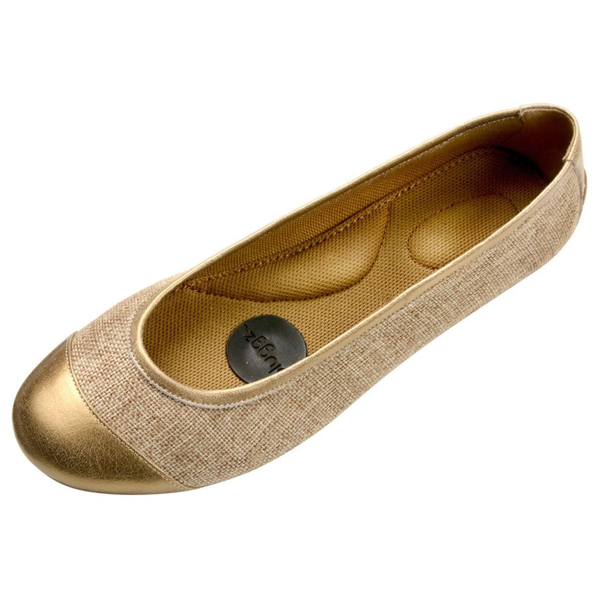 Linen + Leather Flats - memory foam and trampoline soles...