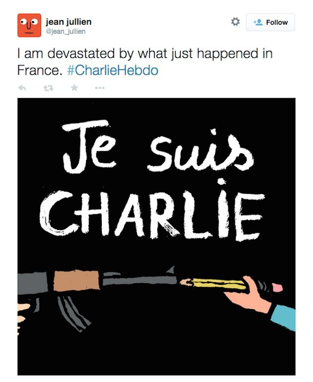 Four Cartoonists Among 12 Dead In Attack On French Satirical Magazine Charlie Hebdo Jean Jullien Words