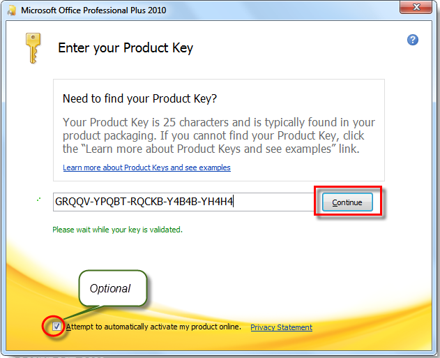 product key microsoft office 2010