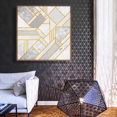 1Pcs Peinture abstraite or 3#- Affiche de peinture canevas salle à