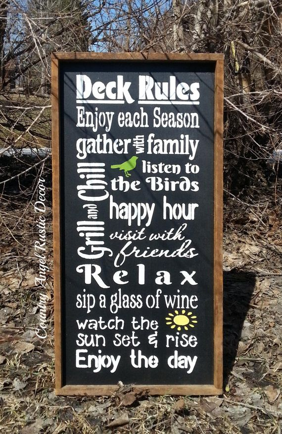 DECK RULES Rustic distressed Typography Subway wood sign with yellow