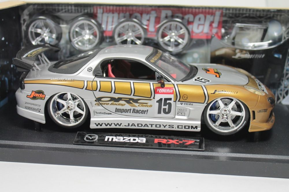 Rare Mazda RX7 Jada Import Racers Tuners 1:18 Scale Die Cast Model Car MIB #JadaToys #RX7