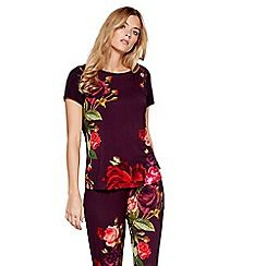 f0f420a1b B by Ted Baker - Dark red floral print  Juxtapose Rose  short sleeve pyjama