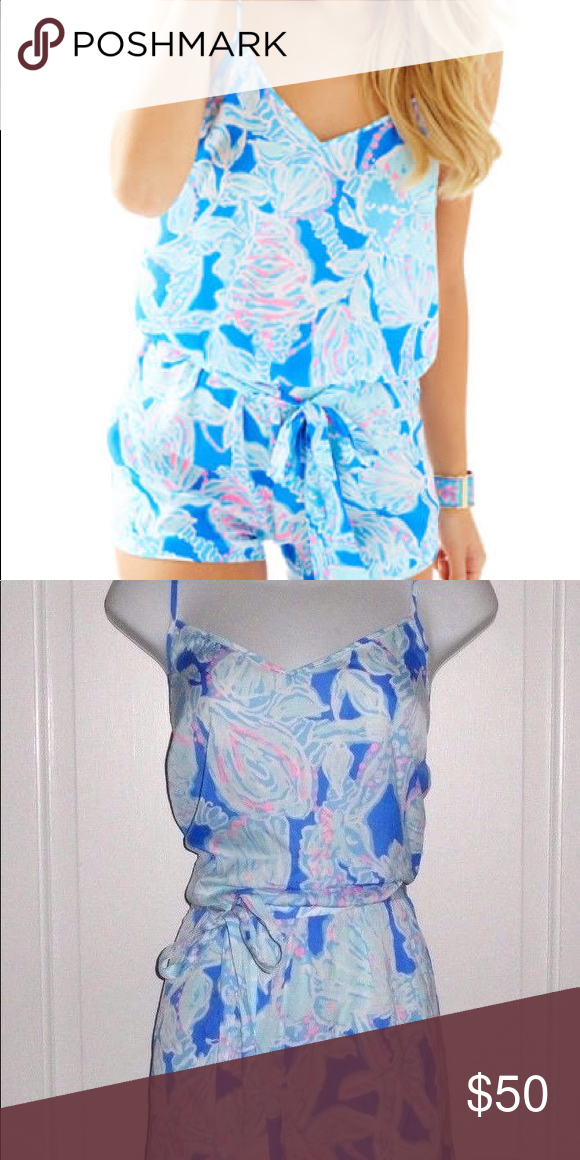ffc4cc3191d0 Lilly Pulitzer Deanna tank top romper XS Bay blue into the deep print.  Barely worn  great condition. Lilly Pulitzer Other