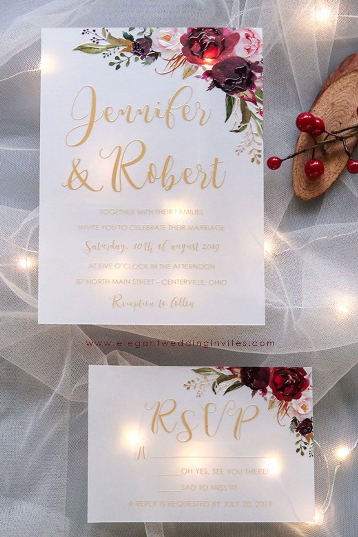 Blushing Blooms Fall Burgundy Marsala And Blush Floral Uv Printing Wedding Invitation On Vellum Paper Ewuv020 Wedding Invitations Diy Diy Wedding Planner Wedding Invitations