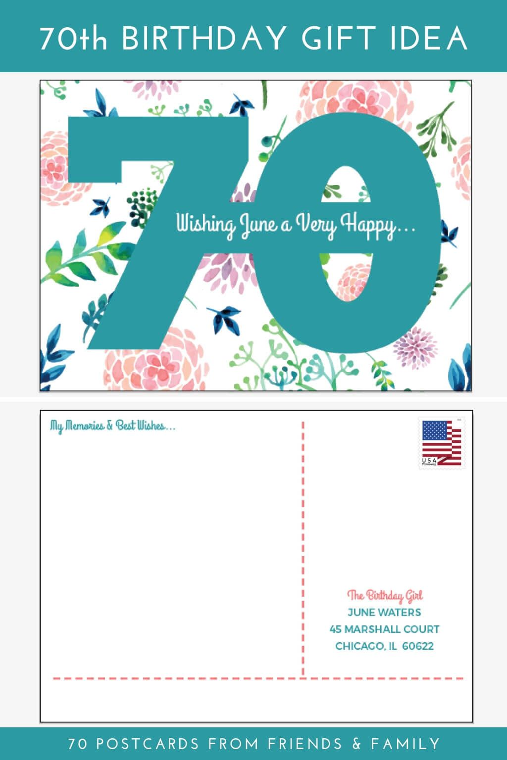 70th Birthday Gift Idea 70 Postcards From Friends And Family Order These Personalized Have Mail Best Wishes Fond
