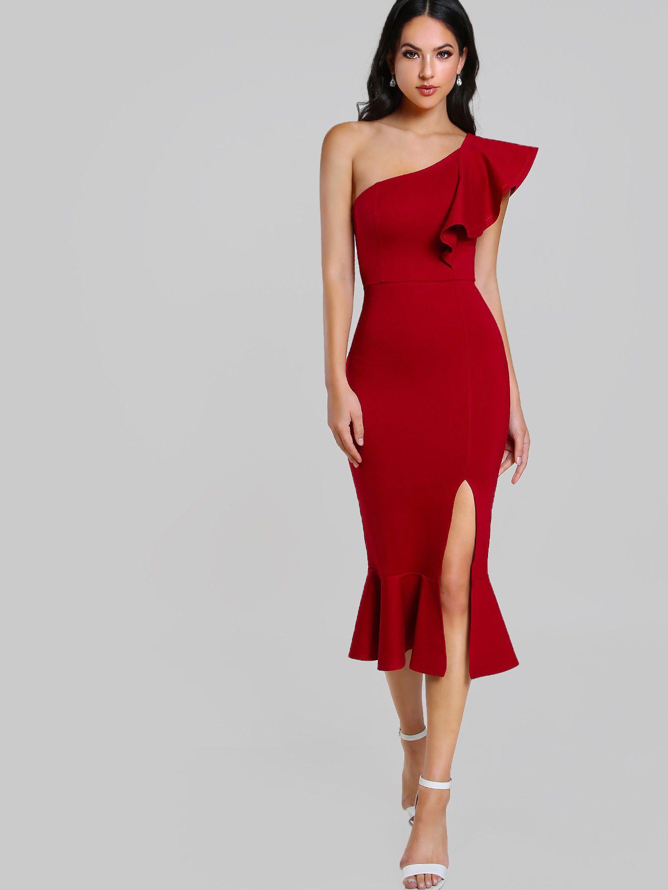 a37ca414cad7 Shop Flounce One Shoulder Slit Fishtail Dress online. SheIn offers Flounce One  Shoulder Slit Fishtail Dress   more to fit your fashionable needs.