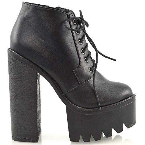 46a12aa135c Ladies Chunky High Heel Cleated Sole Womens Platform Ankle Boots Shoes Size  3 4 5 6 7 8  Amazon.co.uk  Shoes   Bags