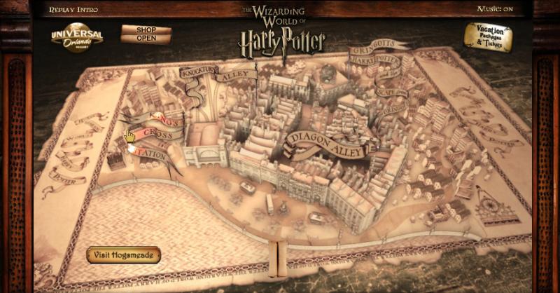 Interactive map area of Diagon Alley. Universal Studios ... | It's ...