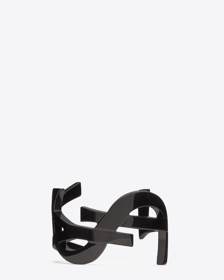 Saint Laurent SIGNATURE MONOGRAM Cuff In Black Enamel Coated Brass