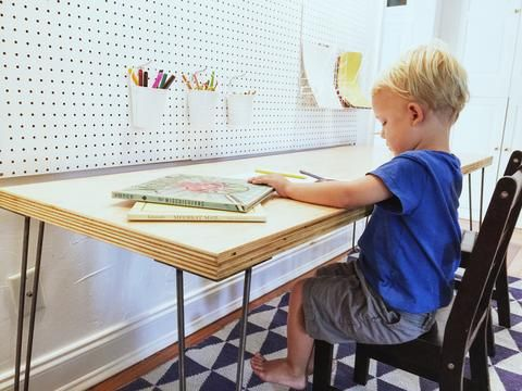 Build A Modern Back To School Desk With Hairpin Legs Diy
