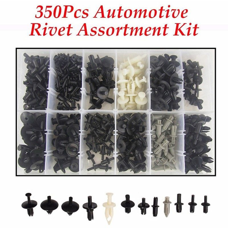 350Pcs Plastic Car Auto Push Pin Rivet Trim Fastener Moulding Clips Assortments
