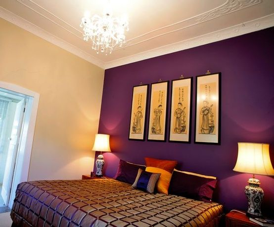 British paints merlins law colour rob has chosen for - Purple feature wall living room ideas ...