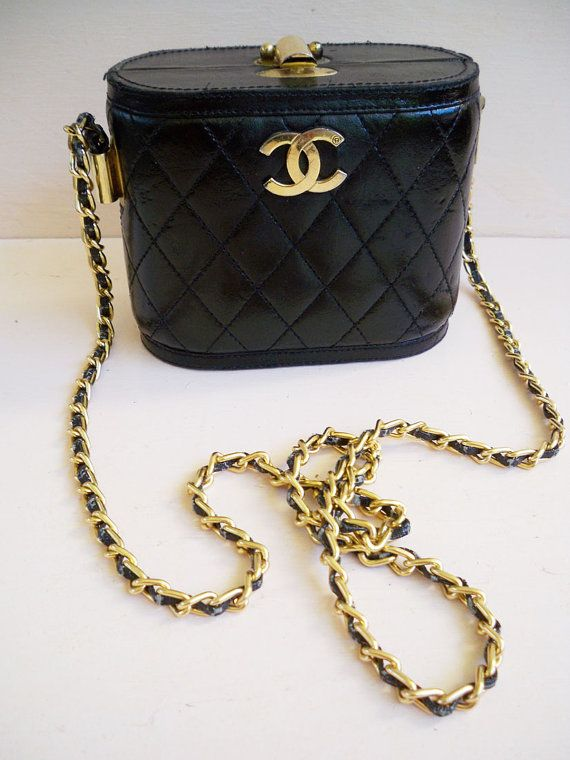 Chanel Vintage 80s Black Quilted Leather Gold Chain Link Strap Etsy Vintage Chanel Quilted Leather Leather