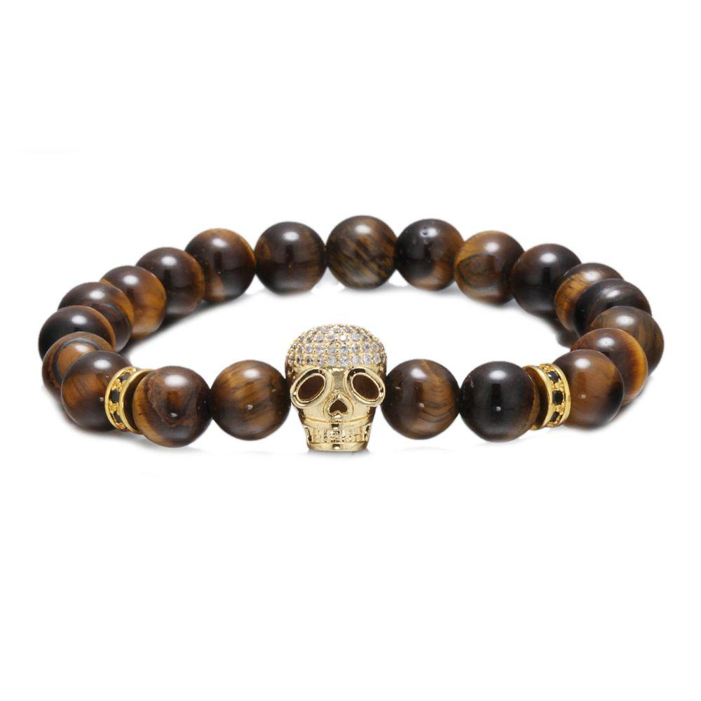 Mm black gun gold color skull bead charm bracelets copper spacer