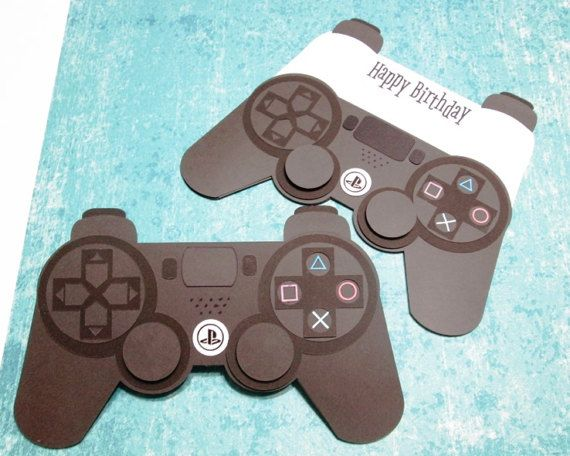 Ps4 Game Controller Shaped Birthday Card Pocket Card Inside