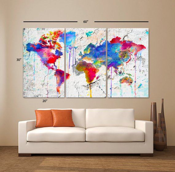 Large 30x 60 3 Panels Art Canvas Print Map World Etsy Art Pictures Ideas Canvas Art Prints World Map Painting