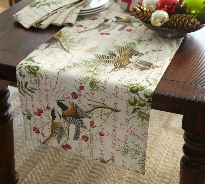 Charmant Pottery Barn Winter Bird Table Runner For Sale