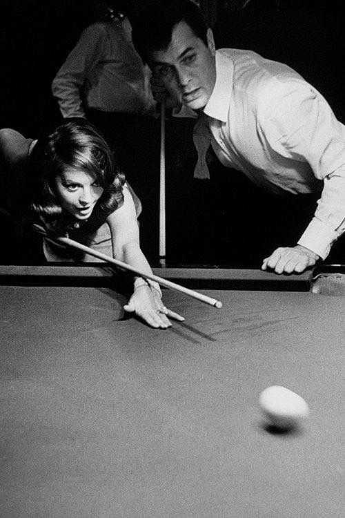 Natalie with actor Tony Curtis, playing pool #blackandwhite