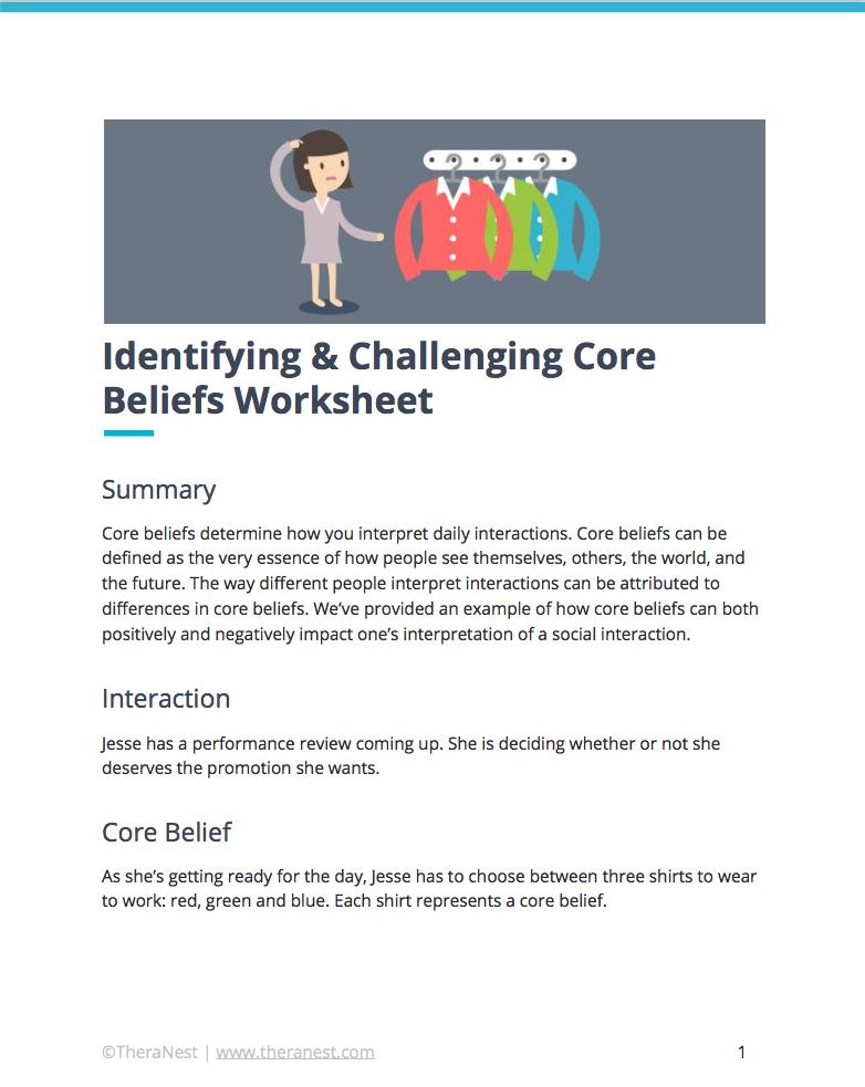 Core Belief Worksheet Self Esteem Worksheets Pinterest Core