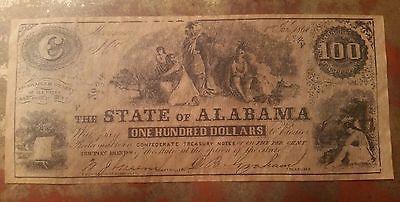 State of Alabama Confederate $100 Treasury Note 1864 #834