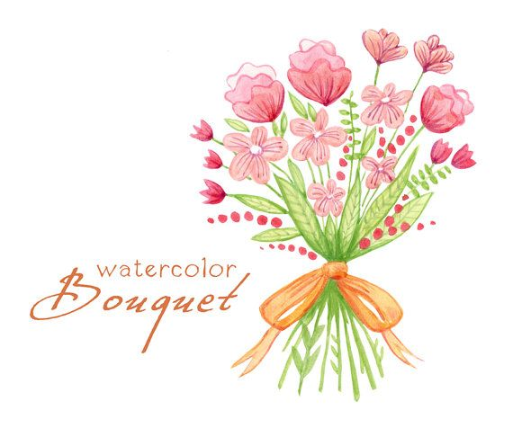 Digital Clipart Watercolor Flowers Bouquet Wedding
