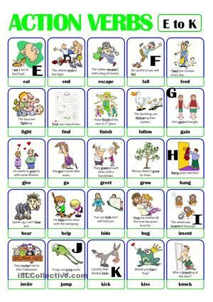 Pictionary Action Verb Set 2 From E To K Esl Pinterest
