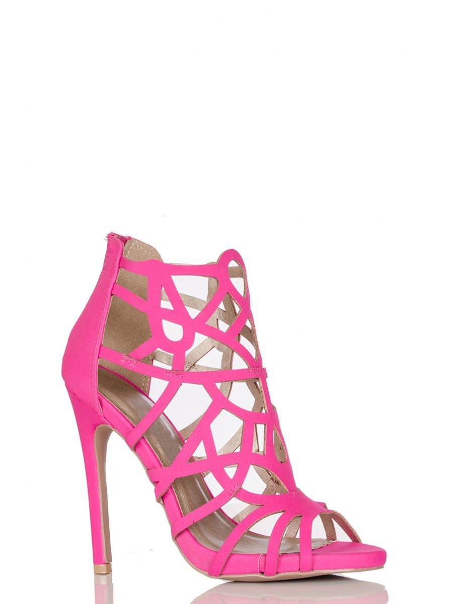 4228e81a9cd Pink Cage Cut Out Heel Sandal - Quiz Clothing