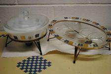 vintage Inland Glass  casserole & serving tray atomic star/snowflake 5 piece set