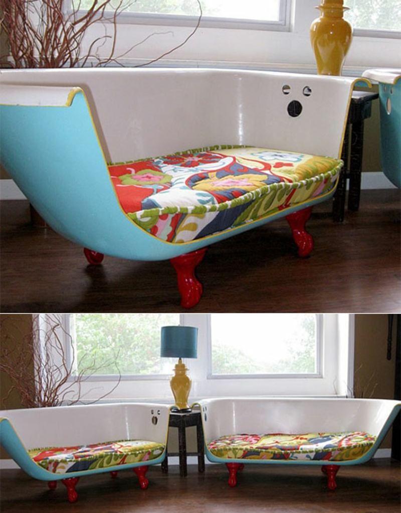 upcycling ideen badewanne halbieren sofa sitzpolster wohnzimmer moebel recyclage pinterest. Black Bedroom Furniture Sets. Home Design Ideas