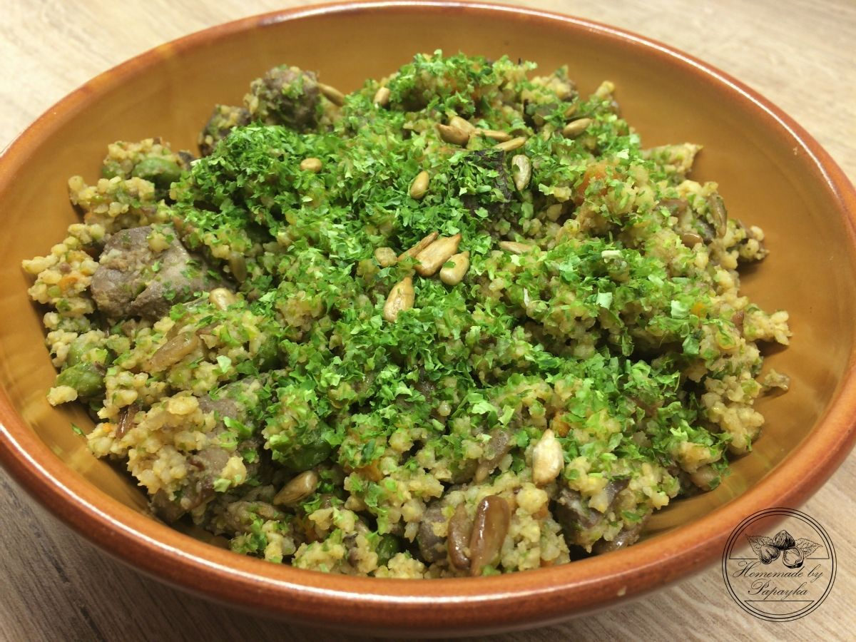 Homemade Millet...millet, nori, seaweed, chickenliver, onion, himalayan salt, vegetables, carrot, pea, olive oil