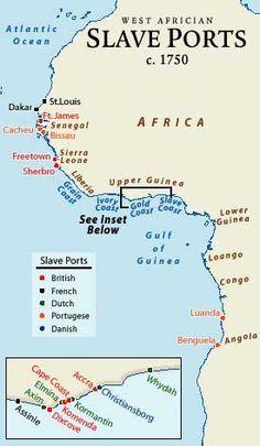 Kaart van slavenhandel in Afrika : De nederlanders meerden vooral