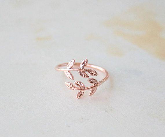 Rose Gold Delicate Laurel Leaf Ring Laurel Leaves Ring Adjustable