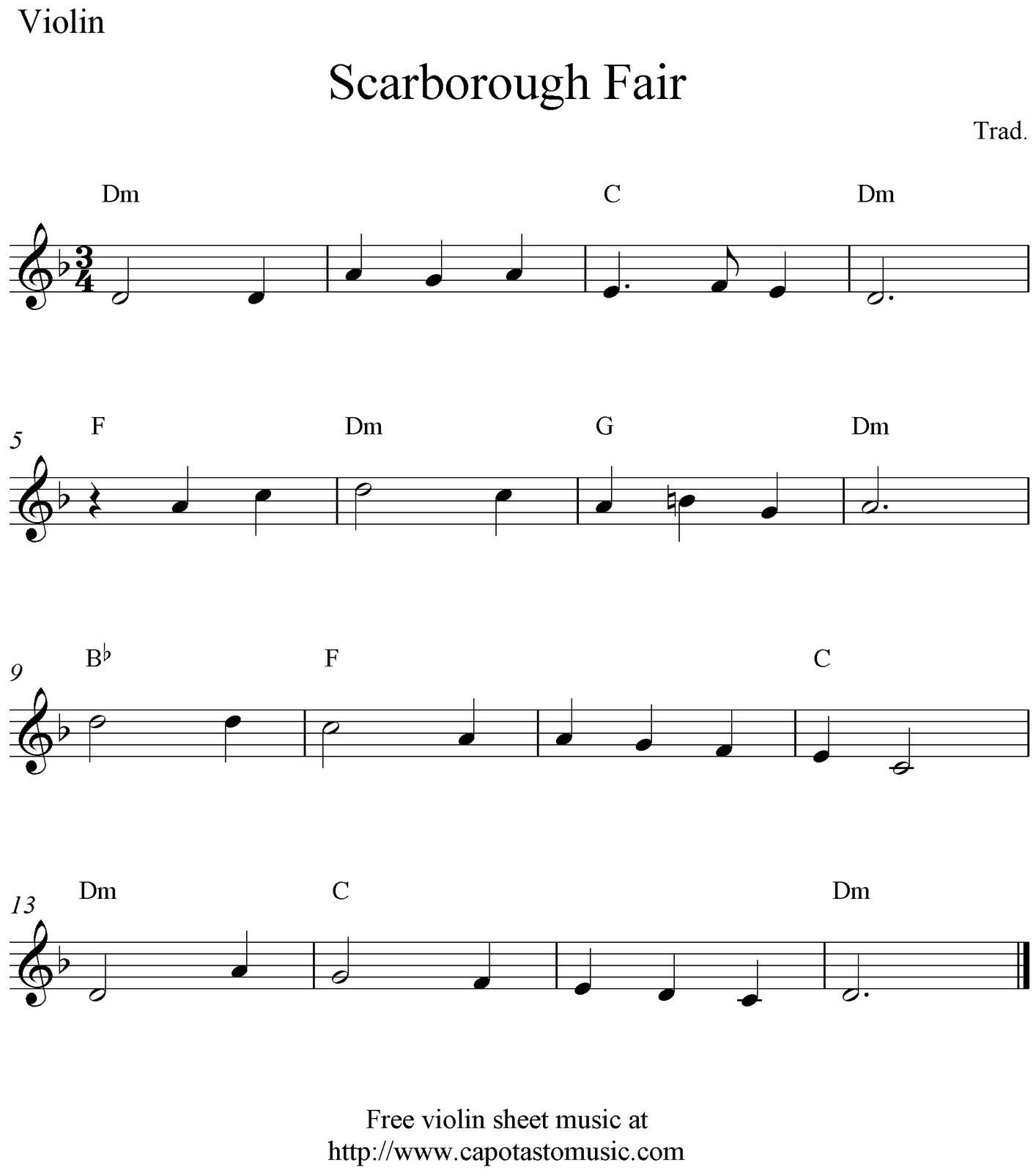 Free Sheet Music Scores: Scarborough Fair, free violin sheet music ...
