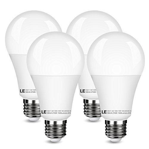 Le 4 Pack 100w Bulbs Equivalent 15w A21 E26 Led Bulbs 1500lm 200 Beam Angle 2700k Warm White Not Dimmable Led Light Bulbs Bulb Led Bulb Led Light Bulbs