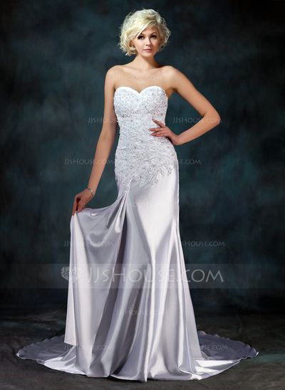 2b11a63b1 Trompete Sereia Amada Cauda watteau Charmeuse Vestido de noiva com Renda  Beading (002000157)