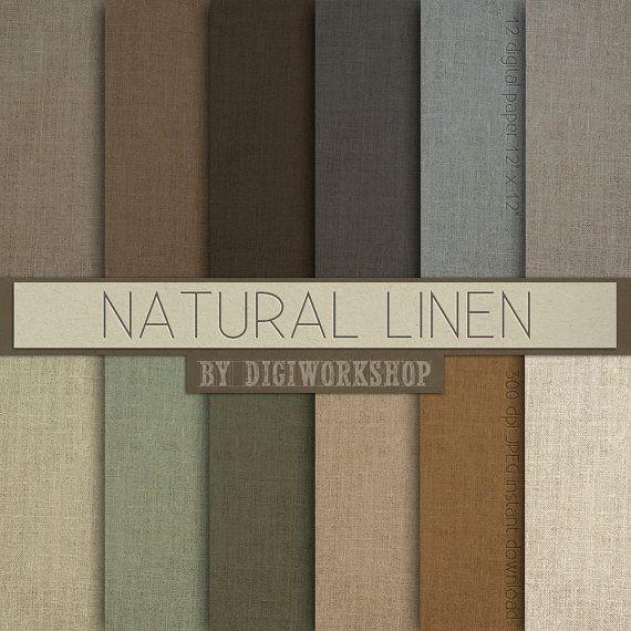 "Linen Digital paper ""Natural Linen"" - Neutral earth tone digital paper set with linen or burlap texture background"