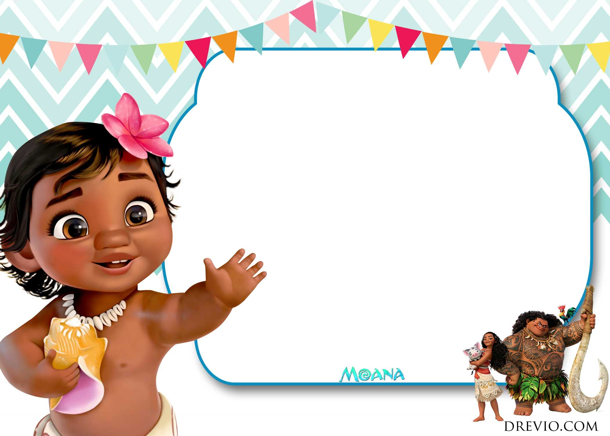 Free Printable Little Moana Birthday And Baby Shower Invitation Moana Birthday Invitation 1st Birthday Invitations Girl Moana Invitation