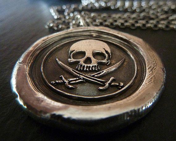 Jolly Roger Pirate Skull Fine Silver Wax Seal