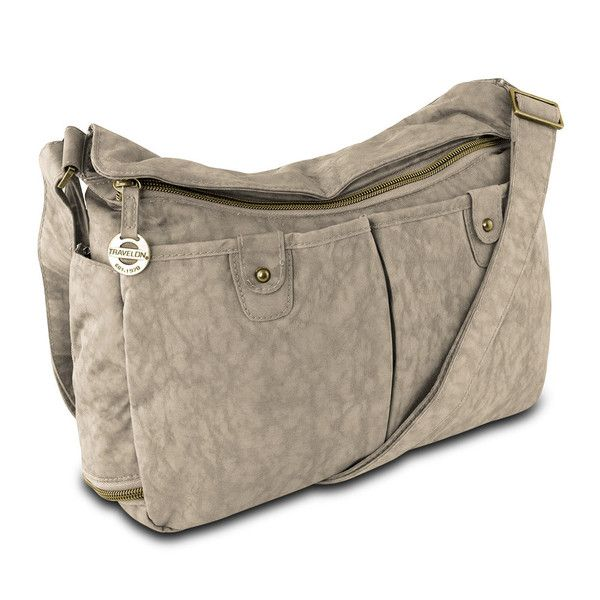 This Travelon East West Sand Colored Shoulder Bag W Rfid Protection Has All The Style And Functionality You Want With Need